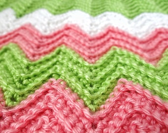 Baby Blanket, Crochet Baby Blanket, Chevron Baby Blanket, Small Baby Blanket, Pink And Green Baby Blanket, Baby Afghan, Baby Photo Prop