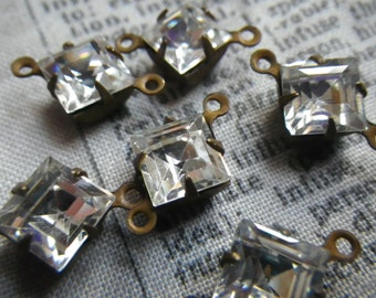 Crystal Clear Vintage Swarovski Square 7x7mm Glass Connectors Two Loops 6 Pcs