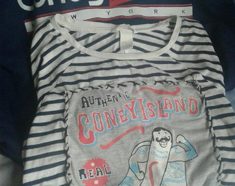 Coney Island M/L Navy Hoodie and Repurposed Top - Coney Island Brooklyn