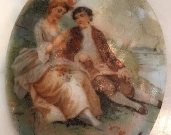 Vintage Hand Painted Porcelain Cameo Brooch Piece
