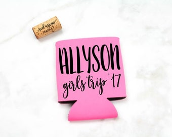 Personalized Girls Trip Can Cooler - Bachelorette Party Favors - Girls Weekend - Girls Night Out - Girls Trip Favors - Custom Can Cooler