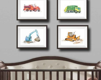 Construction Truck Nursery Art Baby Boy Nursery Decor Fire Truck Nursery Wall Art Dump Truck Art Playroom Art Boys Room Decor Gift for Him