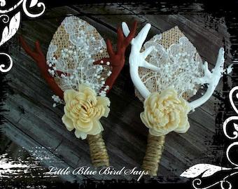 rustic wedding boutonniere | deer antler boutonniere | wedding boutonniere |  groom's accessories | rustic wedding