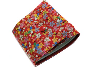 Red long checkbook Japanese fabric flowers
