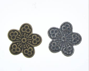 Brass petals , 12mm 2 finishes, solid brass  03681