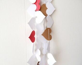 Heart Garland White Red Gold / Anniversary Garland / Wedding Decoration Adjustable Hand Sewn