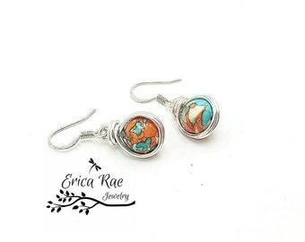 Jasper earrings, gemstone earrings, silver earrings, beaded earrings, hypoallergenic earrings, wire wrapped earrings, blue and orange jasper