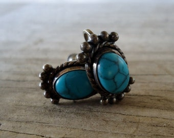 Vintage Native American Sterling Silver Turquoise Earrings natural blue turquoise screw back clip on 1960's bohemian gypsy earrings