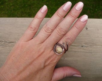 rings, mother of pearl ring, earthy jewelry, wire wrapped jewelry hand made boho rings, copper jewelry ring, adjustable ring wrap woman gift
