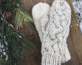 Braided Handmade Cable Knit Wool Mittens