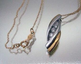 10 k Solid Gold 3 Diamant Halskette Vintage gelb-weiß-Gold