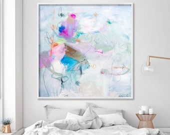 Abstract Painting PRINT, large wall art, Living room abstract art office, Modern White canvas art, Giclee print by AF Duealberi
