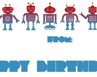 robot birthday sticker label