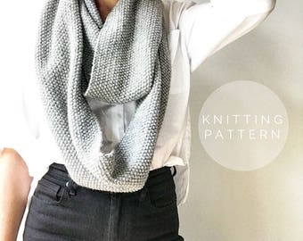 KNITTING PATTERN // Infinity Scarf Pattern // Knit Scarf Pattern // Simple Seed Scarf