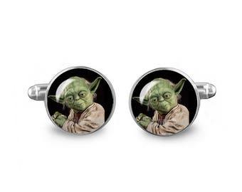 Yoda Cuff Links Star Wars Cuff Links 16mm Master Jedi Gift for Men Groomsmen Geeky Cuff links Fandom Jewelry