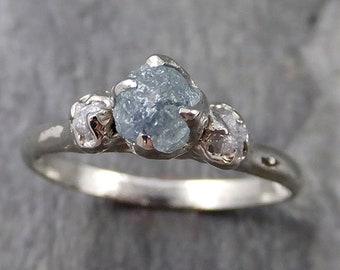 Raw Montana Sapphire Diamond White Gold Engagement Ring Wedding Ring Custom One Of a Kind Gemstone Multi stone Ring 1159