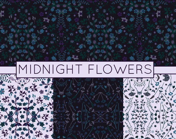 Dark Floral Patterns, Flower Digital Paper, Seamless Patterns, Commercial Use, Scrapbook Pages, 12x12 JPEG, Hand Drawn, Instant Download