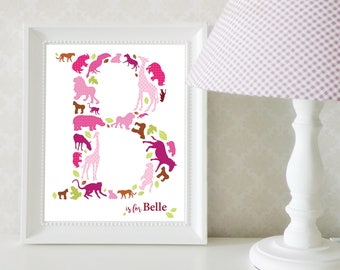 Girl's Jungle Monogram Print; Girl's Safari Monogram Print; Girl's Room Jungle Nursery Art; Safari Animal Nursery Art