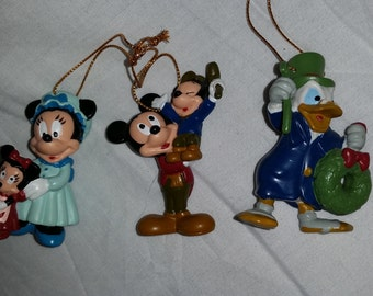 Vintage Mickey, tiny 'Tim', Minnie w/sis & Donald Scrooge Christmas - Set of 3 Ornaments (Free Shipping)