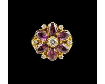 Vintage 18ct Gold Diamond & Rhodolite Garnet Daisy Ring, Large Flower Ring, Vintage Rings, Garnet Jewelry, Antique And Vintage Jewellery