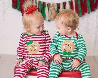 Gingerbread Man Christmas Pajamas - Gingerbread Pajamas - Twins Christmas Pajamas - Family Christmas Pajamas - Infant Christmas Romper