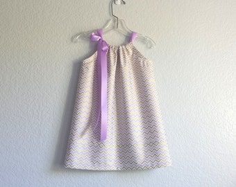 Girls Lavender and Gold Pillowcase Dress - Girls Chevron Stripe Dress - Metallic Gold Party Dress - Size 12m, 18m, 2T, 3T, 4T, 5, 6, 8 or 10