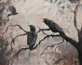 RAVENS CROWS on CANVAS * Edgar Alan Poe Dark Art * Giclee wall art * Expressionist * Print on Canvas * Free Shipping to UsA