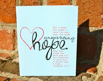 note card set . Unwavering Hope with Jeremiah 29:11 . 6, 4x5 folded note cards (blank on the inside) with envelopes