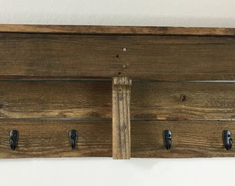 "Large Rustic Wood Coat Rack 42"" x 11 1/4"" x 5 1/4"""