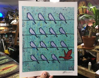 Blue Birds Be Different Wall Art by artist Rafi Perez Original Artist Enhanced Print 8X10