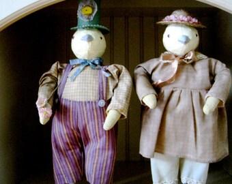 Vintage Paper Mache Easter CHICKS all dressed up! Folk Art