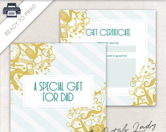 Printable Gift Certificate Design - 5 x 5 Postcard Size - Gift For Dad - Father's Day Card - Ready To Print - INSTANT DOWNLOAD - Design #8