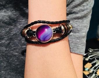 Braided Leather Druzy Agate Bracelets