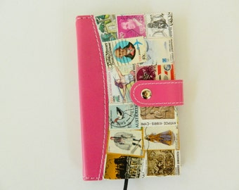Postage Stamps Notebook,Used Postage Stamps Handmade Vintage Art  Small Pink,Postage Stamps Art