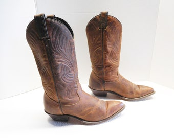 Women's Code West Brown Leather Cowboy Cowgirl Western Boots 6.5 M