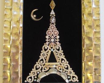 Jeweled Framed Jewelry Art Eiffel Tower Paris France Black Gold Vintage Deco Fabulous