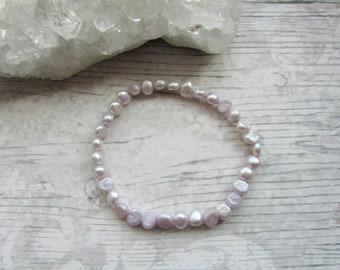 Pale Lilac Freshwater Pearl Bracelet - Stretchy Bracelet - Natural Pearl Jewellery - Elasticated Pearls #6