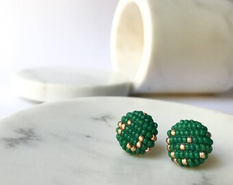 Emerald green and gold beaded earrings, statement piece, handmade jewelry with glass beads stud geometric button pieces