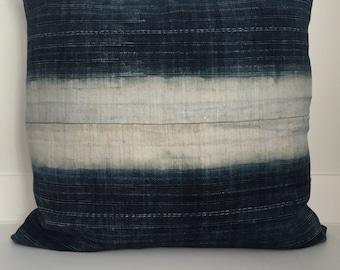 Hmong Textile Pillow Cover, Vintage, Ethnic, Handwoven, Hemp, Indigo