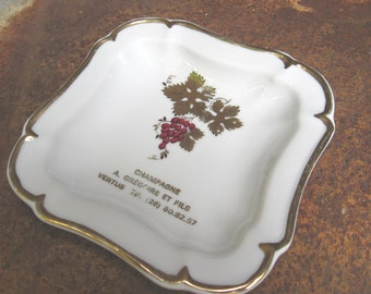 Champagne French Trinket Valet Tray. Gregoire et Fils ring or loose change dish, small card plate. Sparking wine lover gift. Made in France.