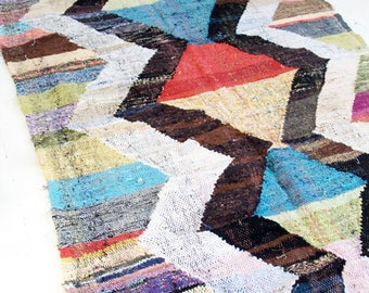 "Vintage Moroccan Kilim - BOUCHEROUITE Rug  ""zigzag"""