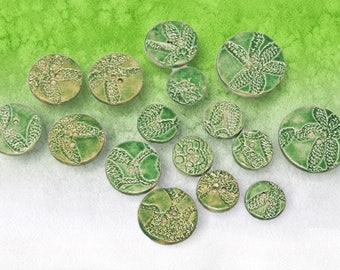 Green Buttons, Lace Flowers, Lace Texture, Glazed, Ceramic, Pottery, Clay Button, Lace Pottery, sewing, knitting supplies, accent, accessory