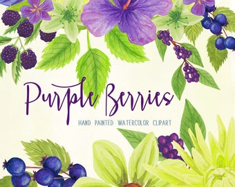 Purple berries and flowers watercolor clipart