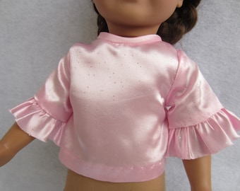18 inch doll clothes, pink satin doll blouse, doll clothing, doll top, ruffle sleeves,  doll shirt, pink doll top, pink satin doll top
