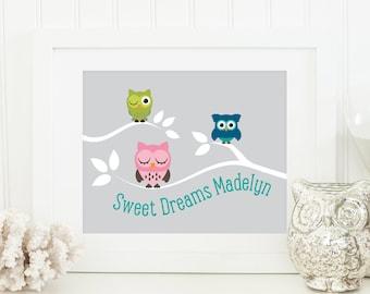 Owl Nursery Art - Owl Baby Art - Personalized Nursery Decor - Custom Baby Art - Personal Baby Gift - Owl Wall Art Print - Sweet Dreams