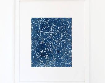 Indigo Dots- Watercolor Art Print
