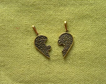 Vintage heart talisman. Bronze wedding gift. Two parts of heart. Valentine's amulet. Love pendant. Heart neclace. Handmade.