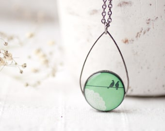 Bird necklace green, Mothers day gift, Gift for women, Mint bird necklace, Gift for mom jewelry, Green necklace, Gift for her, Gift for wife