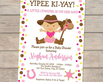 Little Cowgirl Baby Shower Invitation, Western Baby Cowgirl Baby Shower Invitation, Cowgirl and Wooden Horse Invitation