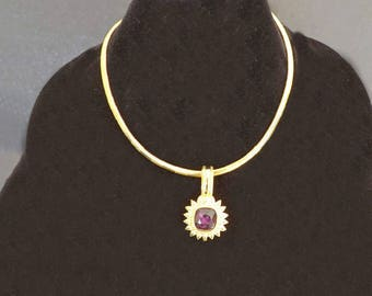 Vintage Necklace Pendant, Amethyst Pendant, Purple Pendant, Amethyst Jewelry, Costume Jewelry, Vintage Jewelry, Formal Dressy Jewelry